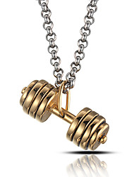 cheap -Men's Punk Style Pendant Charm Necklace 316L Stainless Steel Retro Dumbbell Shape Jewelry