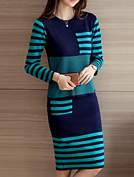 cheap -Women's Blouse Set - Striped, Split Skirt