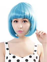 cheap -Synthetic Wig Straight Bob Haircut Blue Women's Capless Carnival Wig Halloween Wig Synthetic Hair