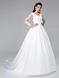 Ball Gown Princess V-neck Court Train Satin Wedding Dress with Appliques by Embroidered bridal
