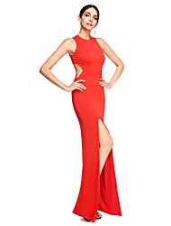 cheap -Sheath / Column Jewel Neck Floor Length Jersey Cut Out Formal Evening Dress with Split Front by TS Couture®