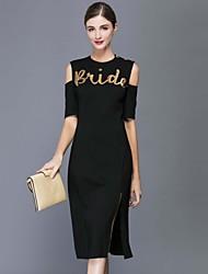 MMLJ Women's Casual/Daily Simple Sheath DressLetter Round Neck Midi Short Sleeve Black Polyester Fall Mid Rise Inelastic Medium