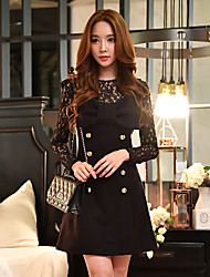 DABUWAWA Women's Going out / Casual/Daily / Party/Cocktail Vintage / Cute / Sophisticated A Line / Sheath / Little Black Dress,Solid StrapMini /