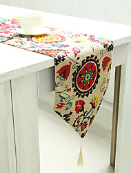 Rectangular Floral Patterned Embroidered Table Runner , Linen / Cotton Blend Material Hotel Dining Table Table Decoration