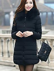 Standard Imbottito Da donna,Cappotto Semplice Casual Tinta unita Poliestere Polipropilene Manica lunga Con cappuccio