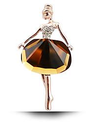 preiswerte -Damenmode-Legierung / Rhinestone / Kristall Vergoldung Ballettmädchen Broschestift Partei / täglich / Hochzeit Luxus-Schmuck 1pc