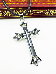 Недорогие -Муж. Крест Кожа Ожерелья с подвесками  -  Euramerican европейский Религиозные Белый / синий Ожерелье Назначение Для вечеринок Повседневные
