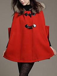 Cappotto Da donna Casual Autunno / Inverno Moda città,Tinta unita Con cappuccio Cashmere / Poliestere Blu / Rosso / Marrone Senza maniche