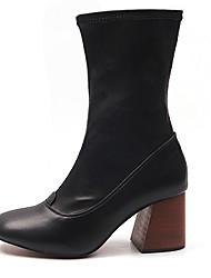 Damen Schuhe PU Herbst Winter Stiefeletten Stiefel Blockabsatz Runde Zehe Für Normal Schwarz