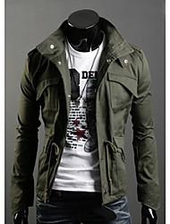 Недорогие -Мужской Однотонный Пальто,На каждый день,Смесь хлопка,Длинный рукав-Черный / Зеленый / Серый
