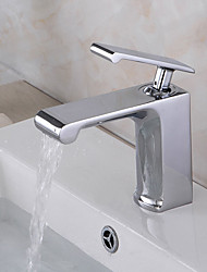 cheap -Contemporary Art Deco/Retro Modern Centerset Pre Rinse Waterfall Widespread Ceramic Valve Single Handle Two Holes Chrome , Bathroom Sink