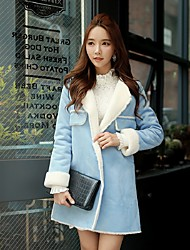 DABUWAWA® Women's Regular Parka CoatVintage / Cute / Sophisticated Going out / Casual/Daily / Holiday Solid / Color Block-Faux Fur / Polyester