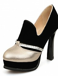Women's Heels Spring Fall Leatherette Office & Career Casual Dress Chunky Heel Gold Sliver Blue