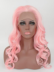 High Quality Heat Friendly Synthetic Hair Long Curly Pink Wig Best Natural Looking Pink Synthetic Lace Front Curly Wig For Women