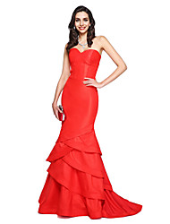 cheap -Mermaid / Trumpet Sweetheart Court Train Taffeta Formal Evening Dress with Cascading Ruffles by TS Couture®