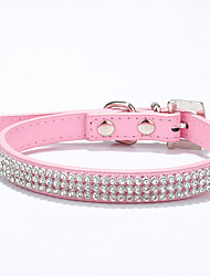 Cat / Dog Collar Adjustable/Retractable / Handmade Rhinestone / Hearts / Mosaic Red / Blue / Pink / Rose / Multicolor PU Leather