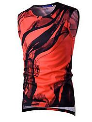 Masculino Camiseta Para Noite Casual Simples ActivoFloral Algodão Decote Redondo Sem Manga Fina