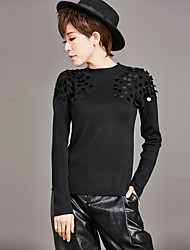 Real shot in Europe and America new winter sweater ladies sweater tide thin stylish hand-beaded shirt