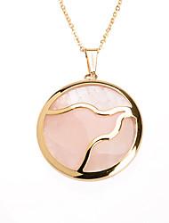 doce inlay de acrílico rosa aço inoxidável 316L pingente de colar