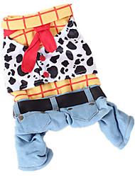 Chien Costume Combinaison-pantalon Vêtements pour Chien cow-boy Mode Jeans Arc-en-ciel