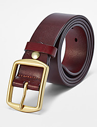 cheap -Men's Brass Buckle,Brown Vintage Solid