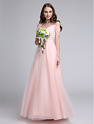 A-Line Spaghetti Straps Floor Length Lace Tulle Bridesmaid Dress with Lace Sash / Ribbon by LAN TING BRIDE®