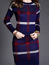 Women's Casual/Daily / Formal / Party Sophisticated Sweater Dress,Print Round Neck Above Knee Long Sleeve Blue / Red / Green