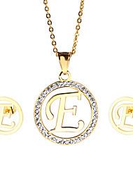Da donna Set di gioielli Strass Gioielli iniziale Acciaio inossidabile 18K oro 1 collana 1 paio di orecchini Per Feste Quotidiano Casual