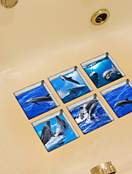 Dolphin 3D Bathroom Non-Slip Stickers The Floor Tile Individuality Decorative Stickers
