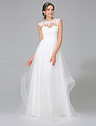 A-Line Illusion Neckline Sweep / Brush Train Tulle Wedding Dress with Appliques by LAN TING BRIDE®