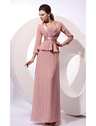 Sheath / Column Jewel Neck Floor Length Chiffon Mother of the Bride Dress with Ribbon by XFLS