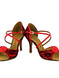 Feminino Latina Salsa Renda Sandália Salto Profissional Apresentação Fivela Fita Salto Personalizado Branco Amarelo Claro Vermelho