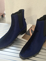 Women's Shoes Suede Fall Winter Bootie Boots Chunky Heel Round Toe For Casual Black Blue