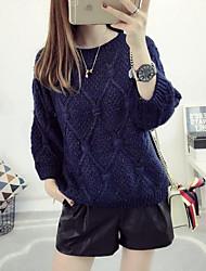 abordables -Mujer Regular Pullover Casual/Diario Simple,Un Color Escote Redondo Manga Larga Rayón Otoño Fino Elástico
