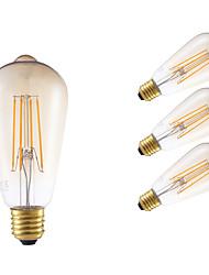 4W E26/E27 Lâmpadas de Filamento de LED ST64 4 COB 350 lm Âmbar Regulável / Decorativa AC 220-240 V 4 pçs