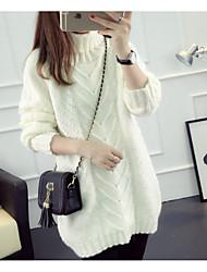 Women's Casual/Daily Simple Regular Cardigan,Solid Turtleneck Long Sleeves Polyester Fall Winter Medium Micro-elastic