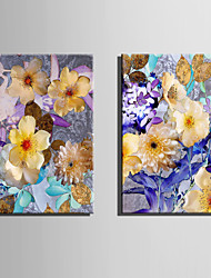 E-HOME Stretched Canvas Art Flowers in Full Bloom Decoration Painting  Set Of 2