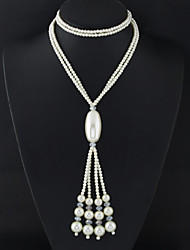 cheap -Women's Tassel / Long Necklace - Pearl Tassel, European, Fashion White Necklace Jewelry For Wedding, Party, Daily
