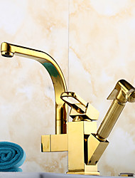 Ti-PVD Finish One Hole Single Handle Deck Mounted Rotatable Pullout Spray Kitchen Faucet