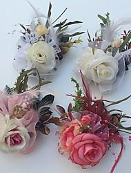 Недорогие -Свадебные цветы Розы Бутоньерки Свадьба Партия / Вечерняя Атлас Тюль Кожа