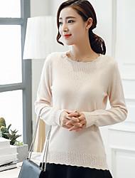 economico -Standard Pullover Da donna-Per uscire / Da party/cocktail Vintage / Moda città / Sofisticato Tinta unita Rosa / Bianco RotondaManica