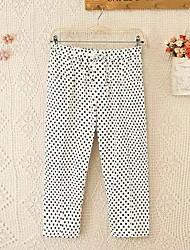 abordables -Mujer Casual Tiro Medio Microelástico Corte Recto Chinos Pantalones, A Lunares Algodón Verano