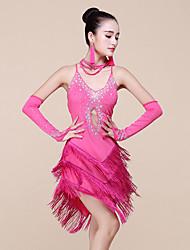 abordables -Baile Latino Vestidos Mujer Representación Espándex Fibra de Leche Cuentas 3 Piezas Sin mangas Cintura Media Vestido Pulseras