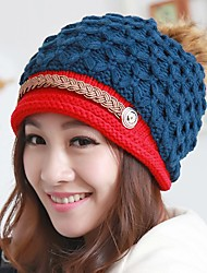 cheap -Women Casual Autumn Winter Multilayer Color Stitching Knitting Wool Warm Protect Ears Beanie Hat