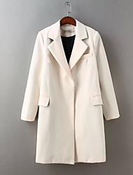 Cappotto Da donna Per uscire / Casual Autunno / Inverno Sensuale / Moda città,Tinta unita Colletto alla Peter Pan CotoneBlu / Rosso /