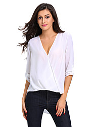 cheap -Women's White V Neck Ruffle Loose Fit Blouse Top