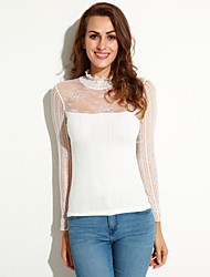 cheap -Spring Plus Size Women's Lace Splicing Stand Collar Long Sleeve Slim Bottoming T-Shirt Tops Blouse