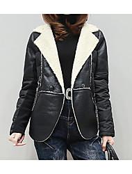 Damen Solide Einfach Lässig/Alltäglich Jacke,Winter Langarm Schwarz Mittel Acryl