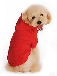 billige -Kat Hund Hættetrøjer Hundetøj Ensfarvet Sort Orange Grå Rød Grå/Rød Bomuld Kostume For kæledyr Herre Dame Afslappet/Hverdag Sport