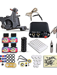 cheap -Tattoo Machine Starter Kit 1 cast iron machine liner & shader Mini power supply 1 x alloy grip 10 pcs Tattoo Needles